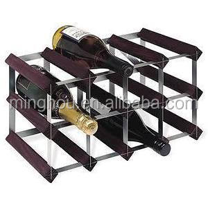 12 bottle zinc-coated steel wood small wine rack for home storage wine rack