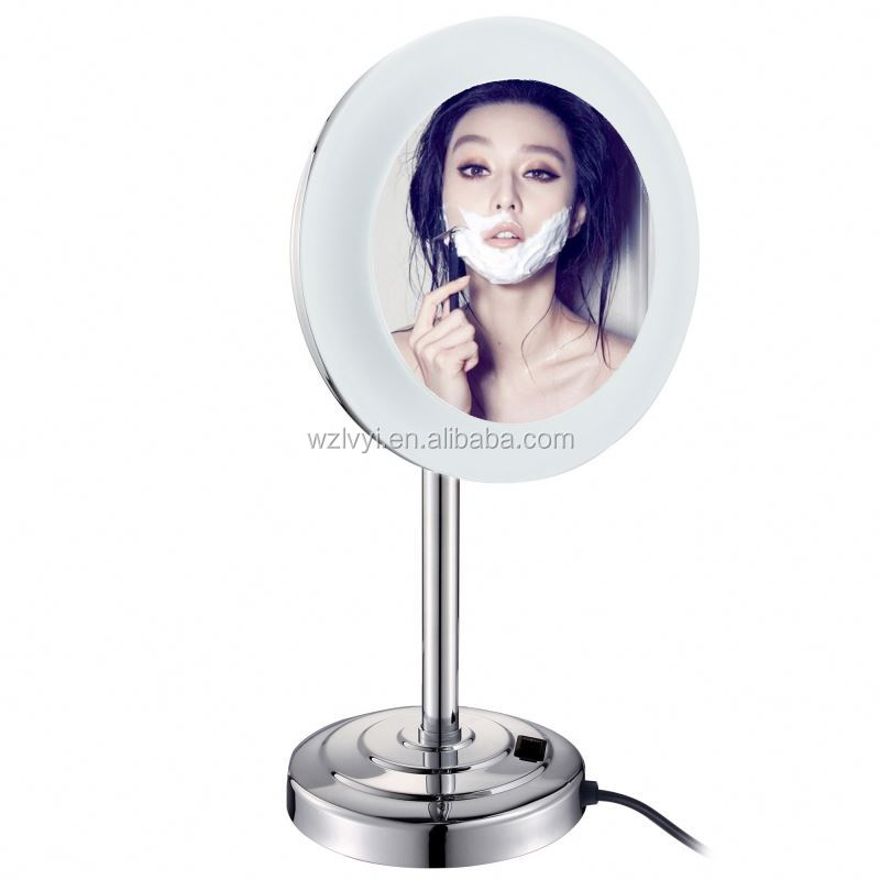 Europe style vogue foldable girl folded brass cosmetic led desk mirror