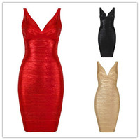 In Stock High Quality New Fashion V-Neck Red&Black&Gold&Green Print V-Neck Bandage Dress Bodycon Special Occasion Dress