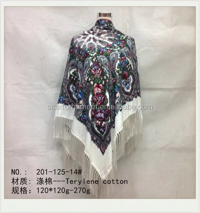 square scarf with fringe fashion scarf 20170848 120*120cm SATIN COTTON scarf