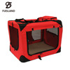 Lightweight Fabric Pet Carrier Crate with Fleece Mat and Food Bag - Red