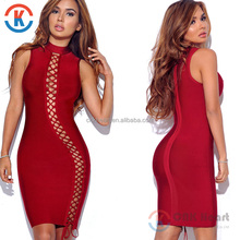 2017 Fashion high neck Cut Out summer sexy bodycon red womens bandage dress
