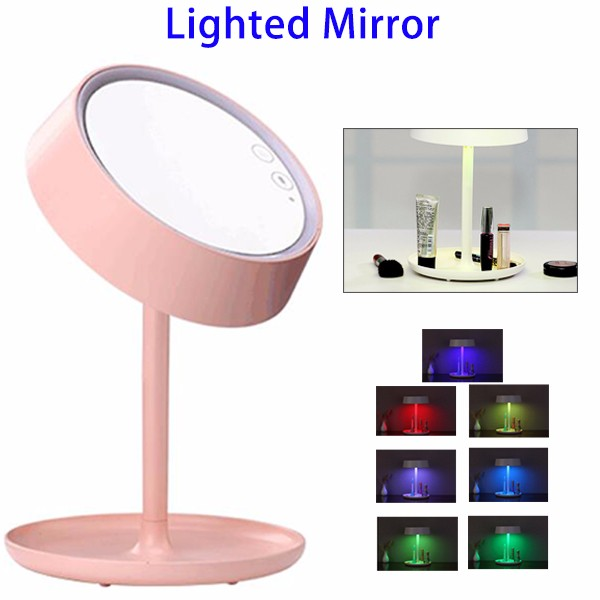 New Product Rechargeable 7 Colors Vanity Touch Screen Cosmetic Makeup Mirror With LED Lights