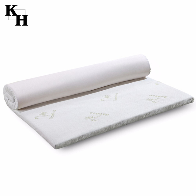 Memory Foam Mattress Topper with Removable Zipper Bamboo Cover