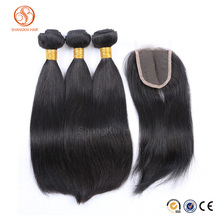 100% unprocessed cheap brazilian straight virgin hair bundles with lace closure