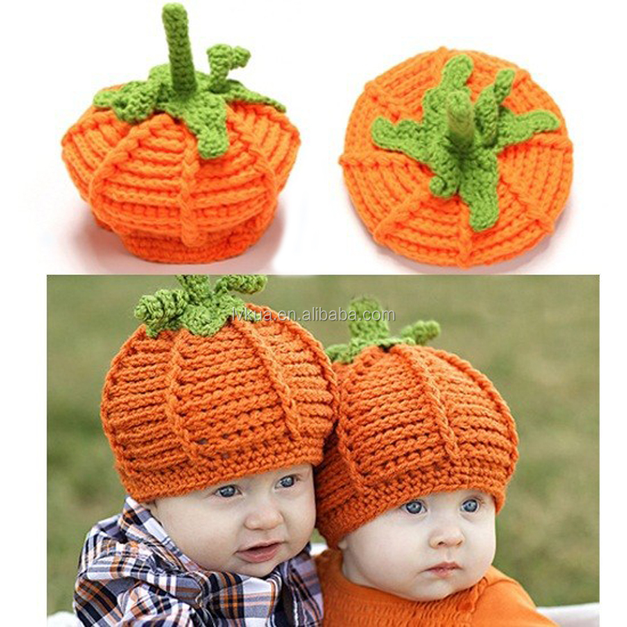 Baby Boy and Girl Winter Crochet Pumpkin Hat Toddler knitted Beanie Halloween Hat for Festival Photo Props