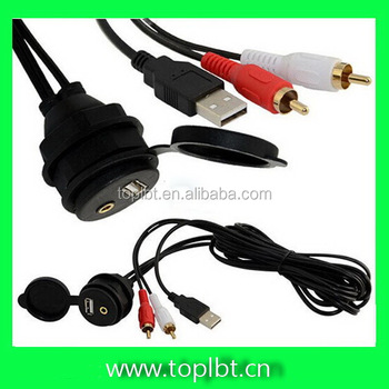 Car Dash Mount Installation Accessories 3.5mm USB AUX 2RCA Extension Data Cable