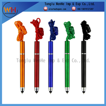 Customized promotional gifts plastic ball-point pen with lanyard and stylus