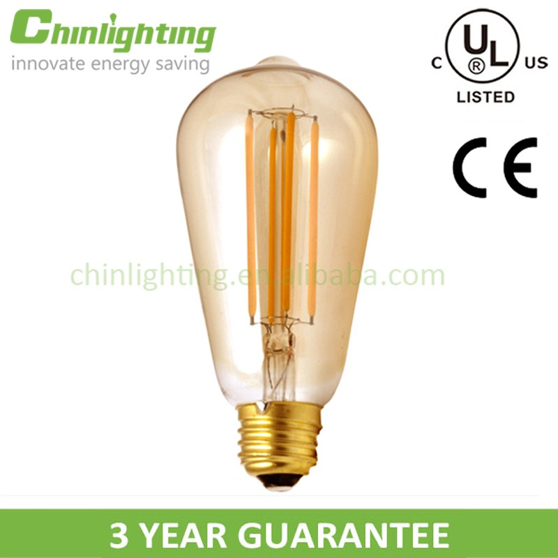 Gold S21 ST64 UL edison bulb led filament ST64 100LM/W 2200K gold surface light