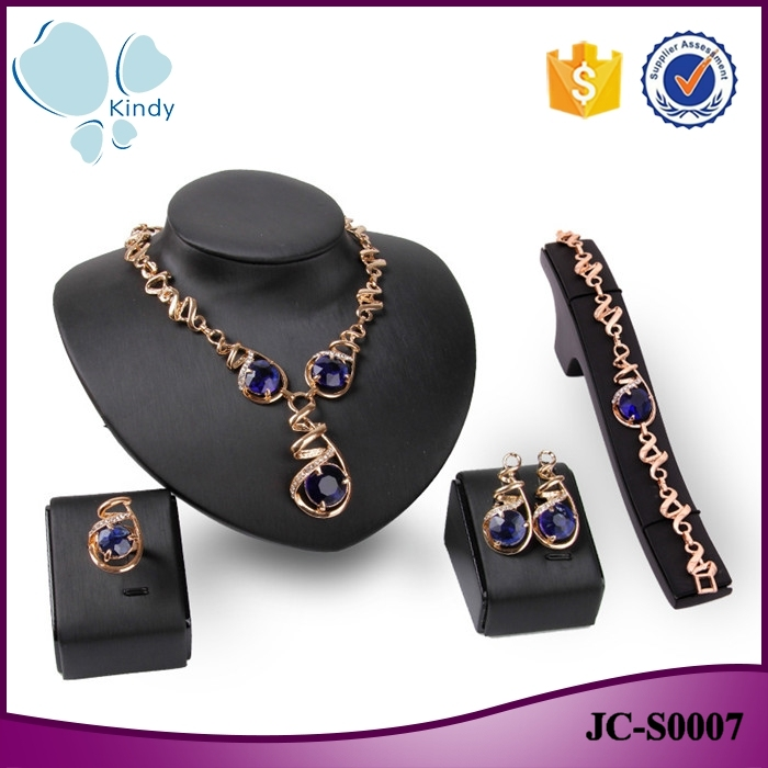 Western Style Kindy Jewelry Jcs0007 Four Piece Suit Blue Crystal Big Diamonds Necklace Set Buy