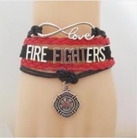 Custom Firefighters Infinity Love Bracelet Leather In Red Black Colors, As For The Fire Department Gift