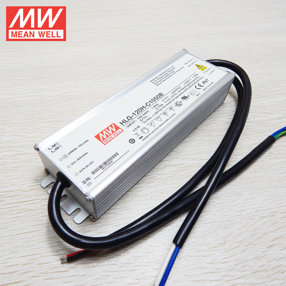 Original MEANWELL 60w to 480w c.c led driver HLG-C series 120w 1050ma constant current dimmable led transformer HLG-120H-C1050B