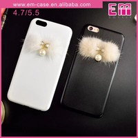 High Quality Solid Color Pearl Pendant PU Case For iPhone 6 6Plus
