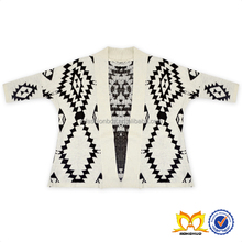 Aztec Print Open Front Cozy Knitted Cardigan Sweater Geometric Pattern Cashmere Sweater Pashmina Shawl