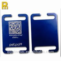 Unique custom Laser engraved ID QR code anodized aluminum cool dog id tags with keyring fittings