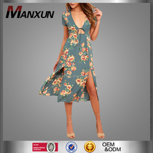 Dress 2017 The New Lady Short Sleeve Print Dress Sexy Lady Beach Dress Skirt Tail Open Fork Design