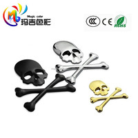 3D Chrome Skull n Cross Bones Logo Emblem Sticker Decal Real Metal