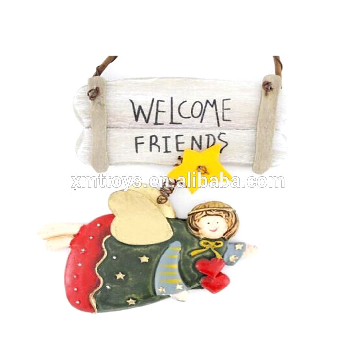 Handmade Home Decor Flying Angel Welcome Friends Welcome Sign Wall and Door Hanging Plaques