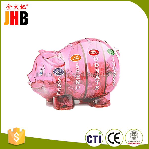 Customized small pink transparent kids cheap piggy bank plastic