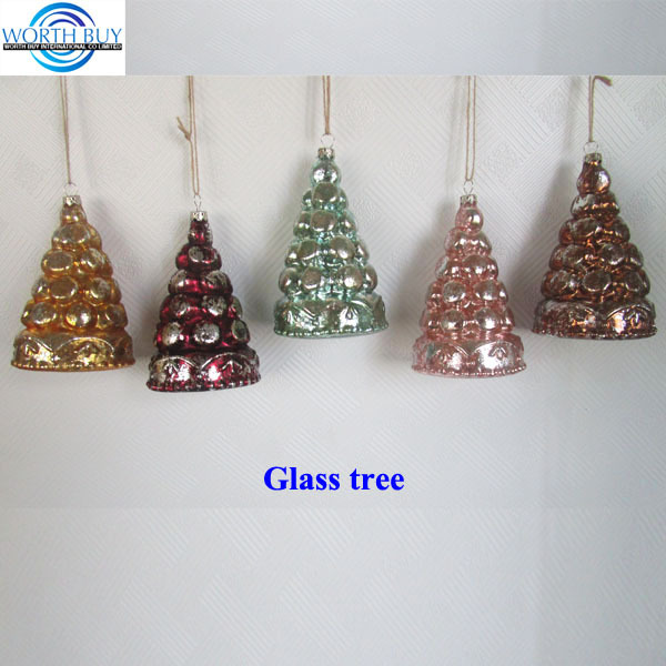 Hanging vintage blown glass christmas cone tree ornament for car decoration