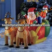 Outdoor Christmas Decoration, Inflatable Santa With Sleigh And Reindeer