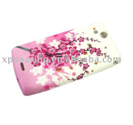 beautiful flower soft case skin back cover for Sony Ericsson X12 LT15i