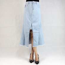 2017 New Style Latest Plus Size Blue Denim Skirt V Bottom Elegant Denim Jeans Skirt for girls