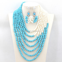 Handmade African Beaded Wedding Event Jewelry Set Turquoise Blue/Pearl Bridal Necklace Earrings Set JS0019