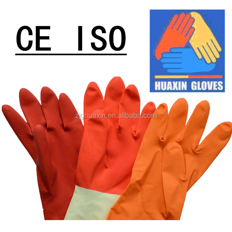 Colored Household Latex Coated working safety gloves , rubber gloves