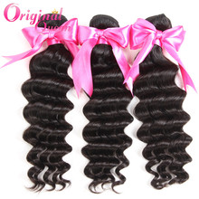 18 Inches Peruvian Hair Weave Deep Wave Human Hair Weft