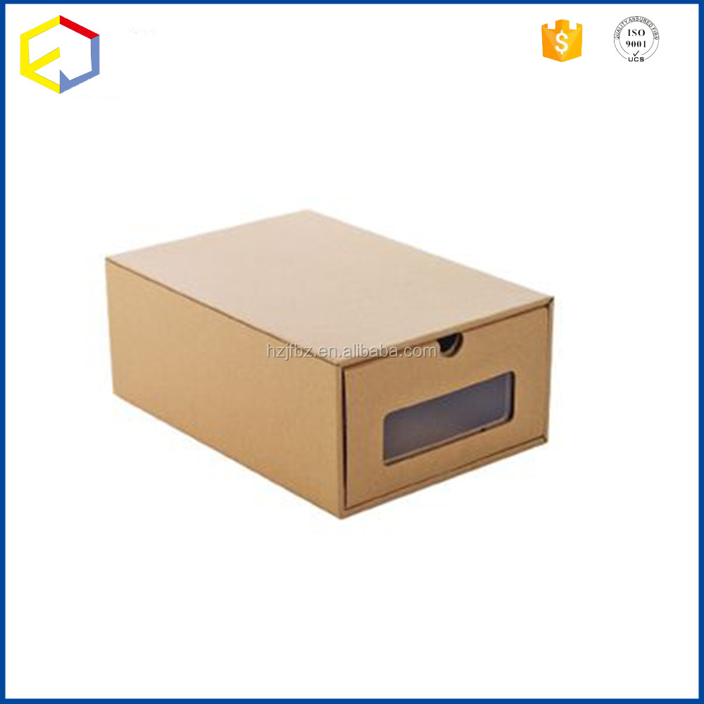 Kraft Paper Drop Front Giant Shoe Boxes With Clear Window In Stock