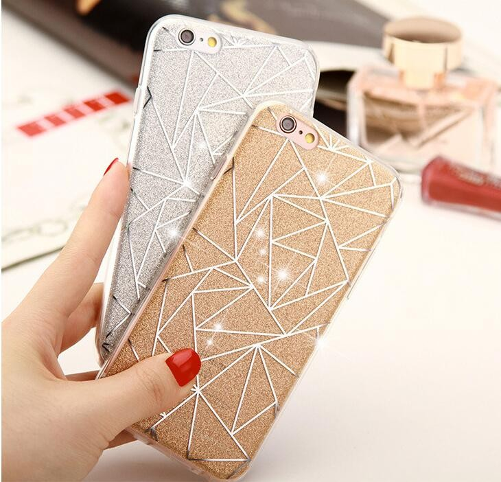 Glitter Bling Crystal Sparkling Rhombus Tpu hard case cover for iphone 6,Glitter case for iphone 7
