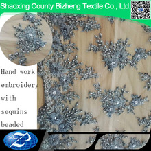 BZ-DL Beaded Lace Fabric High Quality African Tulle Lace With Stones French Net Lace