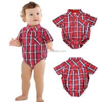 KS30434A Cute English style baby boy white plaid shirt romper onesie jumpsuit clothes