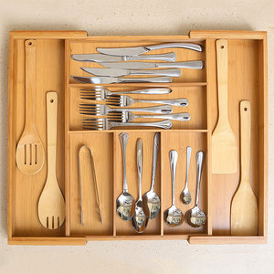 expandable adjustable bamboo utensil tray cutlery drawer organizer