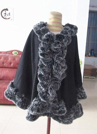 High quality new style lady's knitted rex rabbit fur with cashmere shawl