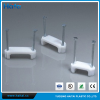 Haitai Widely Used Plastic Double Nail Flat Electric Cable Clips With Steel Nail Made In China