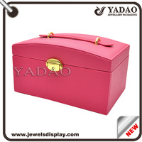 Whole rose color leather cover wooden jewelry box for ring necklace bangle etc. storage box with key