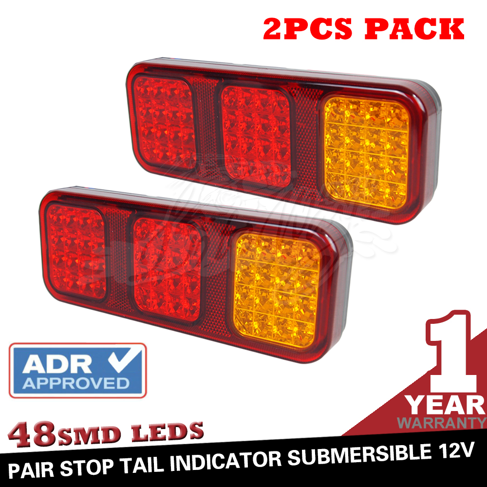 Pair 48SMD Truck Trailer Red Led Light Stop Turn Tail Light Sealed fully waterproof 230*83mm