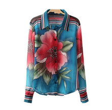 D35477A 2014 AUTUMN NEW DESIGN FASHION BEAUTIFUL FLOWER LADIES BLOUSES