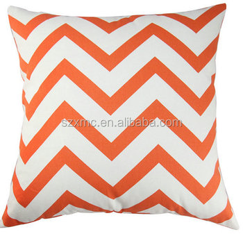 100% Cotton canvas orange chevron printed decorative throw pillow