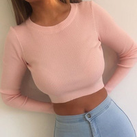 Latest Fashion Teen Girl Kintted Long Sleeve Slim Midriff-Baring T Shirts