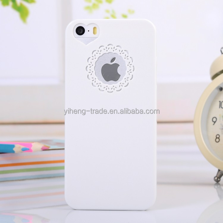 Case For iPhone 5 5s Cute Lovely Flower Lace Heart Love Shape Novelty Hollow Out Design Case For iPhone5