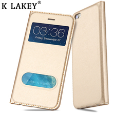 Window View Flip Case For iPhone 6 6S 7 Plus 5 5S SE Case Luxury Leather Phone Cover Shell Housing Bag