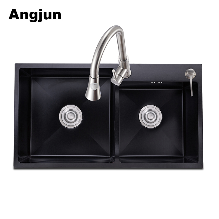 Black Granite Stone Double Bowl Overflow Topmount Laundry Kitchen Sink
