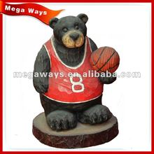 lovely black bear with a basketball for decoration