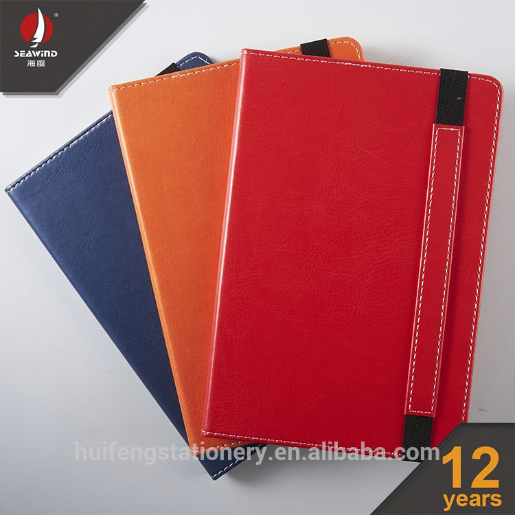 custom pen and diary set pu leather elastic notebook with pocket