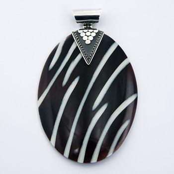 Oval Resin Black Shell Ornate Silver Pendant Zebra Pattern