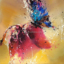 abstract butterfly flowers canvas knife oil painting for home decor