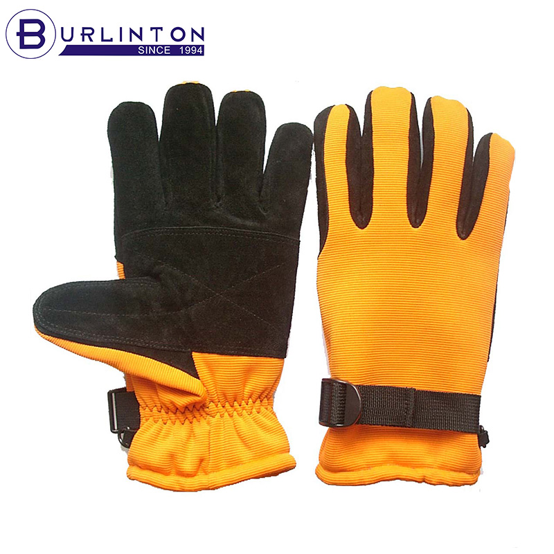 Highly Visible goat skin Split Leather Outdoor Sports Yellow Ski Gloves